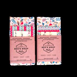 3er Pack (S+M+L) -  Bienenwachstücher - Blumig